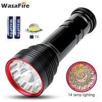 Powerful 25000 Lumens Super Led Flashlight 14*XM L T6 Waterproof Camping Lantern Rechargeable Torch Lamp with 18650 Battery