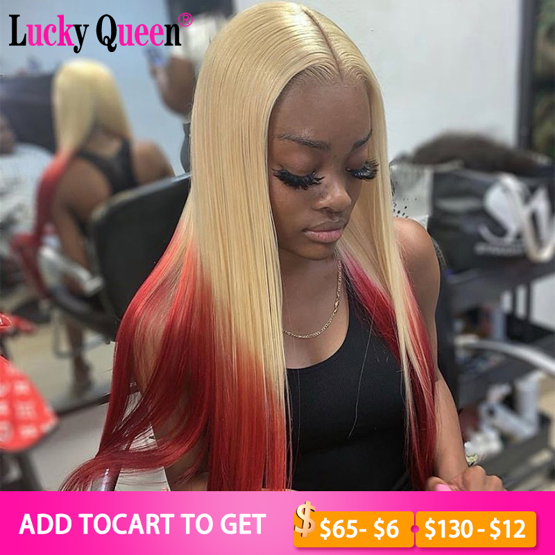 Glueless Pink With Blonde Color 13x4 Lace Front Wigs For Black Women Pre Plucked Brazilian Remy Straight Lucky Queen Wigs