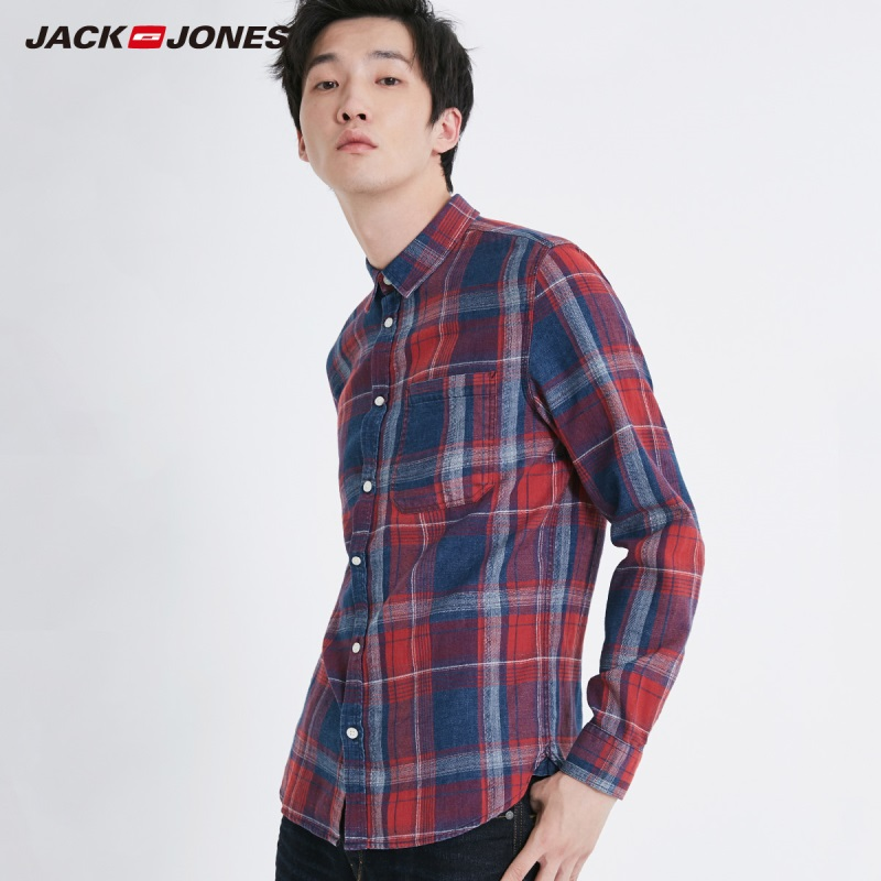JackJones Men's Casual Long-sleeved Plaid Shirt 218405510