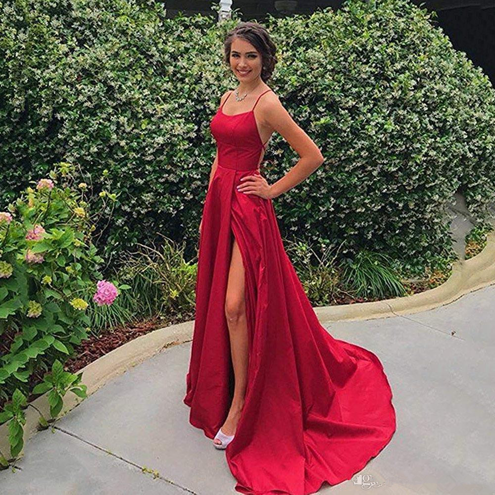 2019 Cheap Spaghetti Straps Satin Long   Prom     Dresses   Ruched Split Criss Cross Sweep Train Formal Party Evening   Dresses