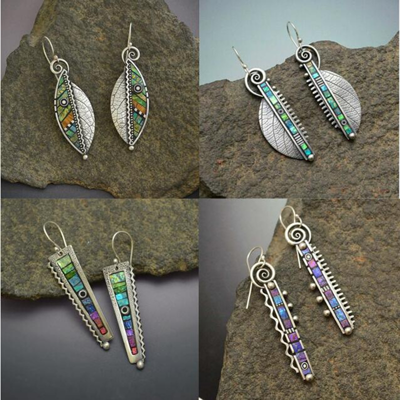 2020 Bohemian Green Leaf Dangle Earrings for Women Ethnic Abstract Vintage Silver Color Indian Drop Earring Oorbellen Pendientes