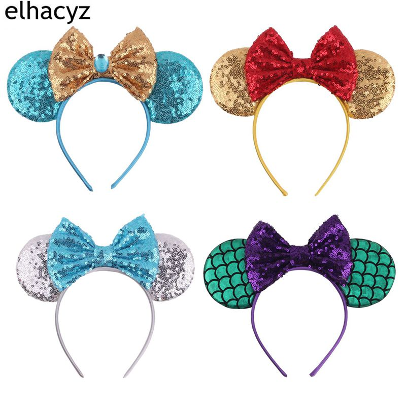 4pcs/lot New 3.3 Glitter Minnie Mouse Ears Hairband For Girls 5'' Glitter Bows For Women Party Headband Hair Accessories