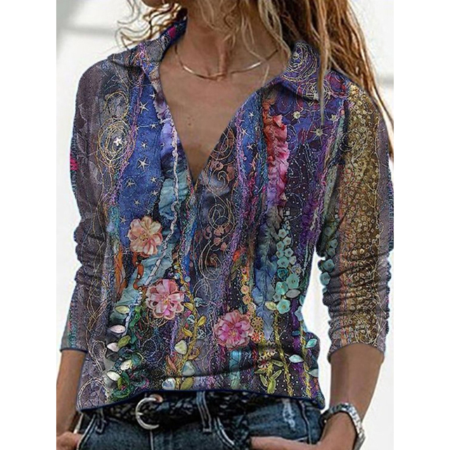 2021 Spring Summer Landscape Print Shirt Women Elegant Turn Down Collar Long Sleeve Women Tops and Blouses Loose Tee 3