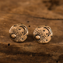 цена на Vintage Tiny Small Stud Earrings Carving Sun Star Moon Pattern Irregular Round Earrings Minimalist Doodle Stud Earring Jewelry