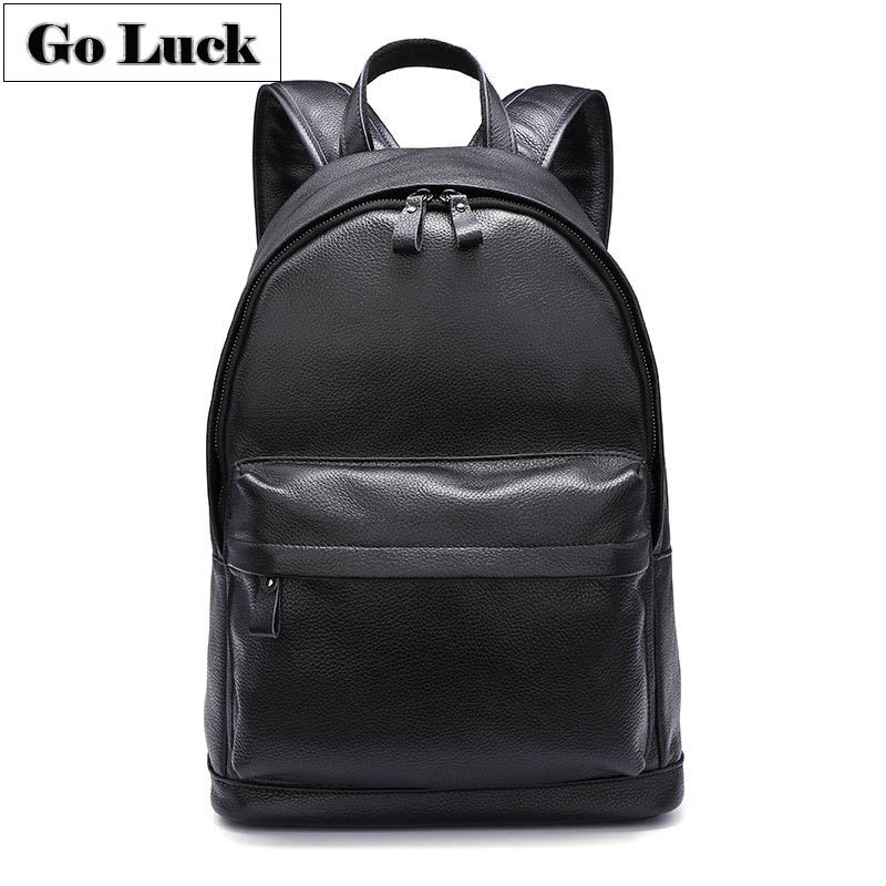 GO-LUCK Brand Top-grade <font><b>Genuine</b></font> <font><b>Leather</b></font> Casual <font><b>Backpack</b></font> Men&WomenTravel Bag <font><b>Unisex</b></font> Daily School Pack Black&Brown image