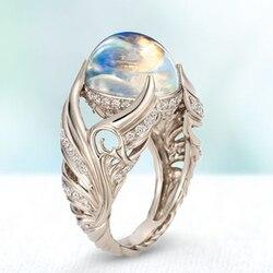2020 offre spéciale magnifique bague ange aile Vintage blanc cygne anneau pierre de lune anneau blanc opale rotin anneau pour femmes bijoux de mariage