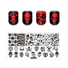 Stamping Plate Halloween Theme Stainless Steel Fall Design Overprint Nail Stamp