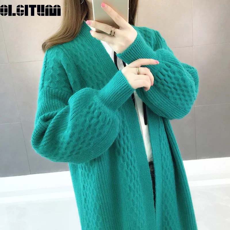Fall Women Sweater Cardigans 2019 Wholesale Loose V Neck Lantern Sleeve Open Stitch Knit Sweater Jacket Female Knit Coat Outwear