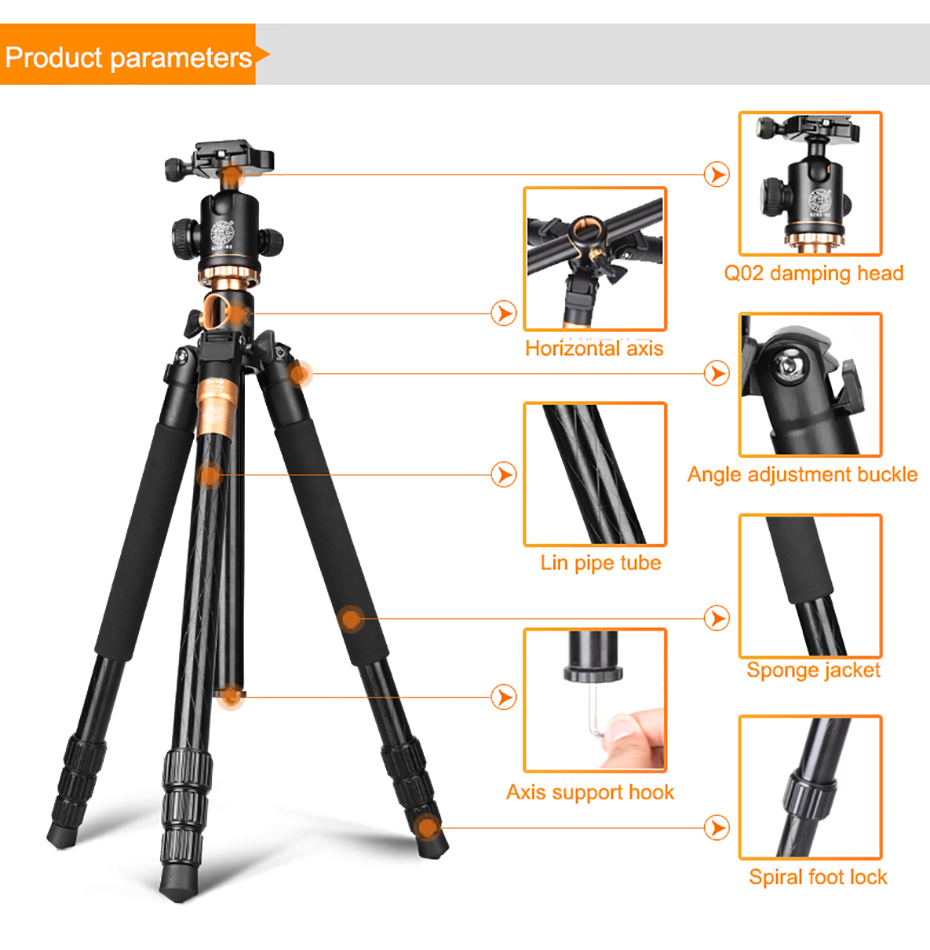 360 Horizontal Ball Head for Macro Photo Handheld Travel Camera Phone Tripod Live Show Portable Carbon Fiber Mini Tripod with Quick Release Plate