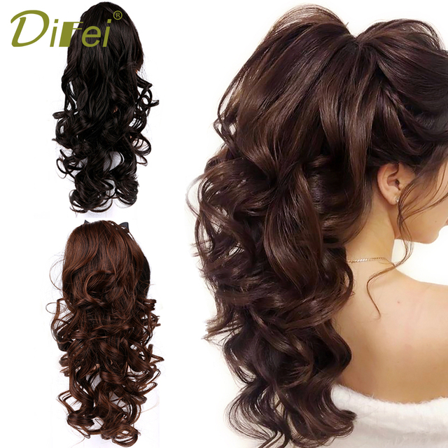 DIFEI Women's Long Wavy Ponytail Clip in Hairpiece One Piece High Temperature Fiber Synthetic Natural Wrap Around Hair