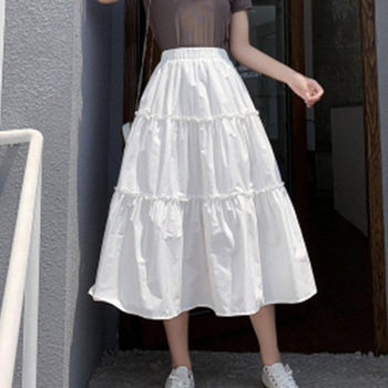 Summer A-Line White Midi Skirt Casual Solid Color Preppy Style Fashion Japanese Style Women High Waist Black Blue Skirts 2020 casual style high waist solid color cotton blend skirt for women