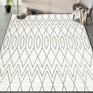 Czarny biały skandynawskie geometryczne dywanik do salonu nowoczesny prosty dywan do sypialni dla dzieci kuchenne maty podłogowe antypoślizgowe zmywalne