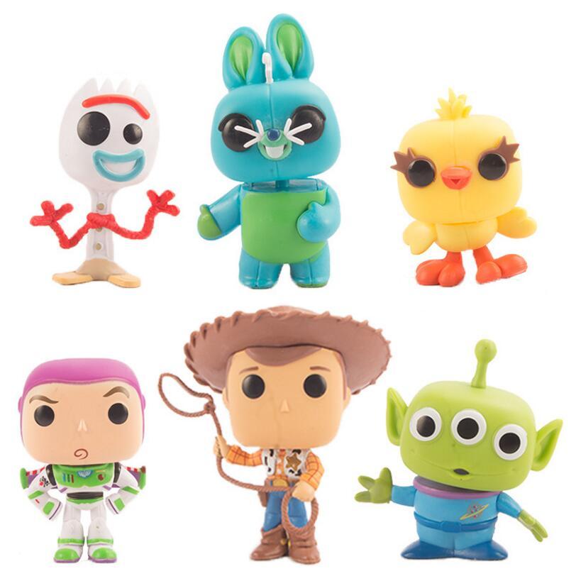 Funko POP 6 unids/set Toy Story 4 Forky Ducky Bunny Buzz Lightyear Alien madera figuras de acción colección modelo juguetes para los niños
