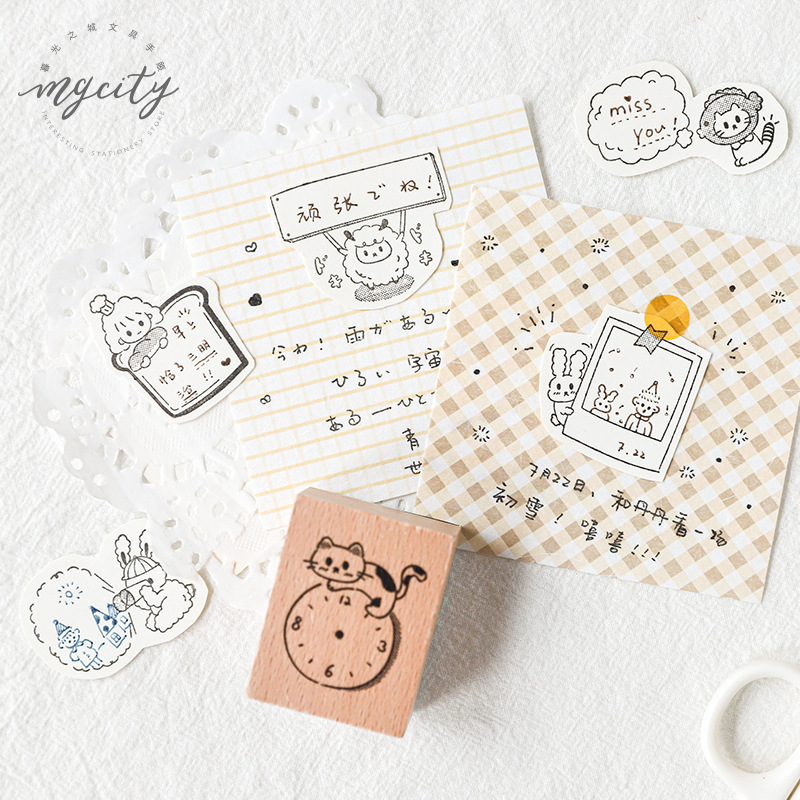 Vintage List Cat Clock Decoration Wooden Rubber Stamps For Scrapbooking Stationery DIY Craft Standard Happy Parade Series Stamp