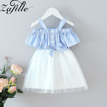 ZAFILLE Summer Dress For Girl Cotton Toddler Dress Baby Girl Clothes Patchwork Girls Dress Mesh Kids Clothes Strip Girl Clothing zafille new baby girl clothes summer dress for girls patchwork mesh girls dress short sleeve toddler kids clothes princess dress
