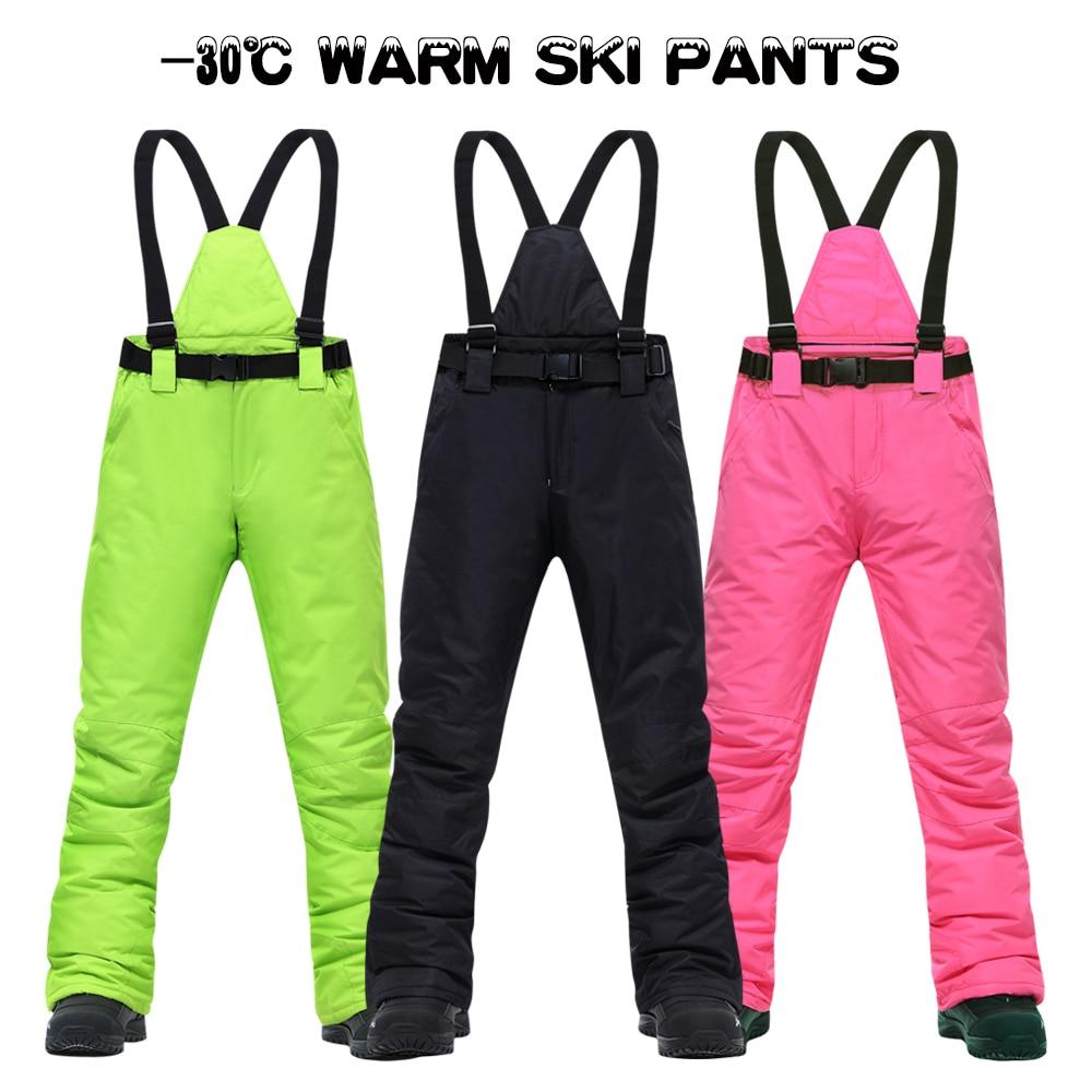 Ski Pants Women And Men Suspenders Outdoor Sports High Quality Windproof Waterproof Warm Winter Brands Snow Snowboard Trousers