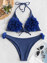 ZAFUL Women Halter Petal Bikini Flower Sexy Triangle Padded Bra Push-Up Swimwear Set Swimsuit Bandage Sports Bathing Suit