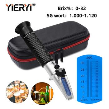 yieryi New Hand Held 0~32% Brix 1.000-1.120 Beer Wort SG Specific Gravity Refractometer With Black bag yieryi new hand held 0 32% brix 1 000 1 120 beer wort sg specific gravity refractometer with black bag