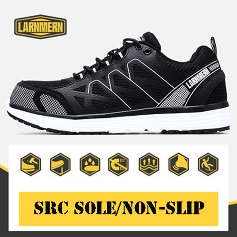 LARNMERN رجل الصلب اصبع القدم أحذية عمل Summern تنفس خفيفة الوزن في الهواء الطلق رياضية ثقب واقية أحذية السلامة الصناعية أحذية-في أحذية العمل والسلامة من أحذية على  مجموعة 1