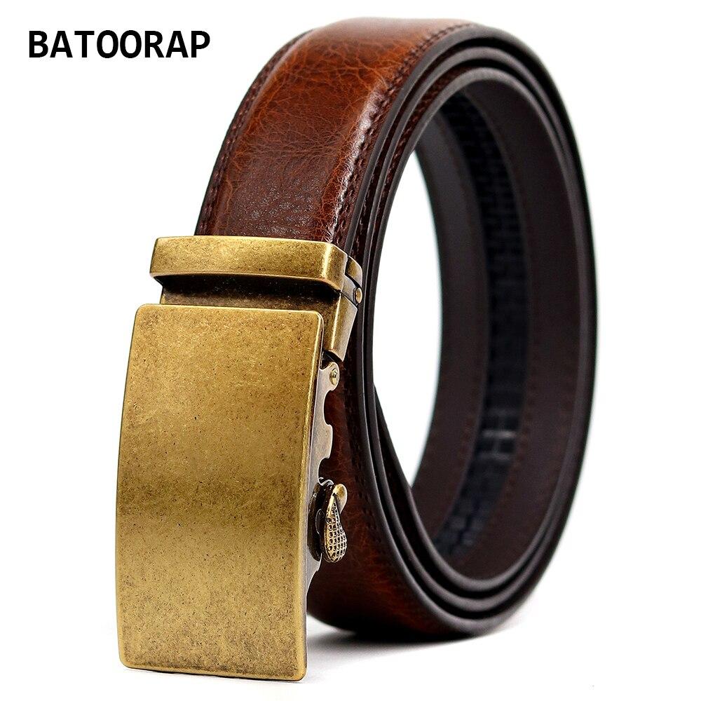 Business Cowhide Ratchet Belt High Quality Men's Leather Belt Designer Luxury Alloy Automatic Buckle Brown Strap
