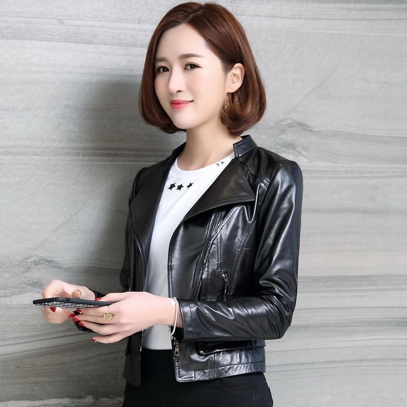 Genuine Leather Montone Jacket Women Spring Plus Size Short Slim Natural Leather Real Sheepskin Coat Female 2020 LWL1438