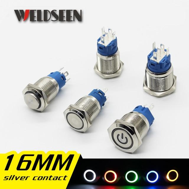 Interruptor de botón de Metal de 16mm luz LED 12V 24V 36V 48V 110V 220V tipo de bloqueo momentáneo botón de encendido de parada de arranque