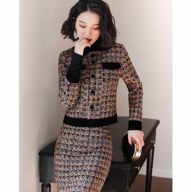 2020 Autumn Winter Vintage Tweed Dress Women Set 2 Two Piece Long Sleeve Jacket Tops and Skirt Suits Wool Cotton Outfits Female
