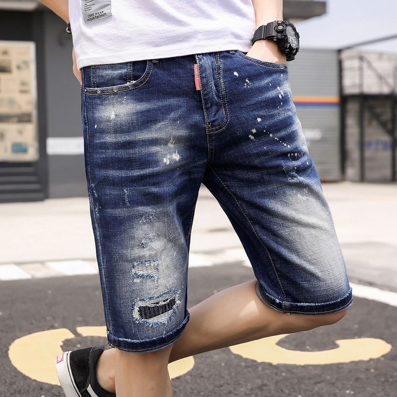 2019 Summer Popular Brand Hole & Patch Retro Cowboy Short Shorts Youth Pencil Pants Denim Shorts Men's