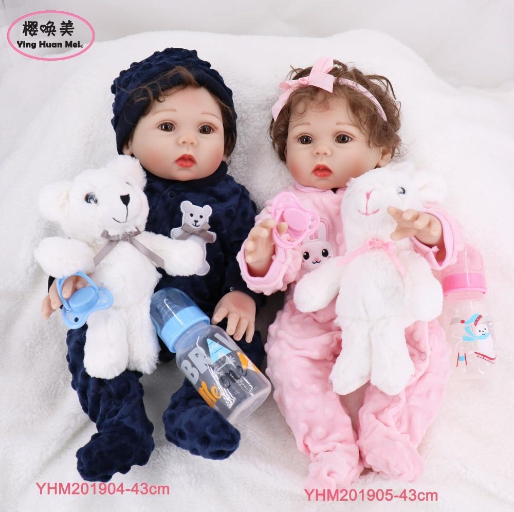 43cm 17 17 silicone de corpo inteiro silicone reborn bebês boneca gêmeos banho brinquedo lifelike recém nascido princesa boneca do bebê bonecas reborn boneca