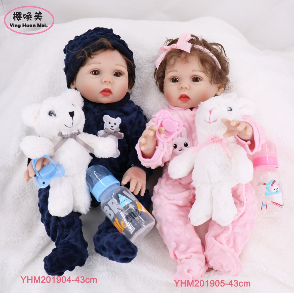 43cm 17'' Full Body SIlicone Reborn Babies Doll Twins Bath Toy Lifelike New Born Princess Baby Doll Bonecas Bebes Reborn Doll