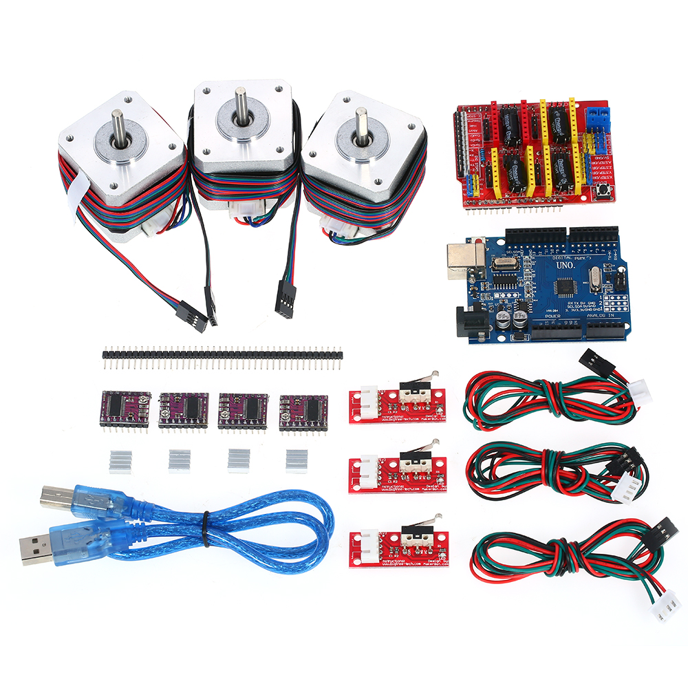 Complete R3 CNC Starter Kit For Arduino with UNO Shield Stepper Motor DRV8825 Endstop A4988 GRBL Programming Learner Kit