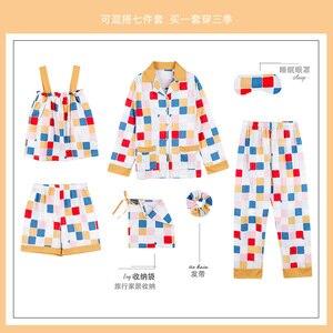 Image 3 - JRMISSLI pyjama pour femme à carreaux, 7 pièces, en coton, vêtements domestiques, vert, collection 2020