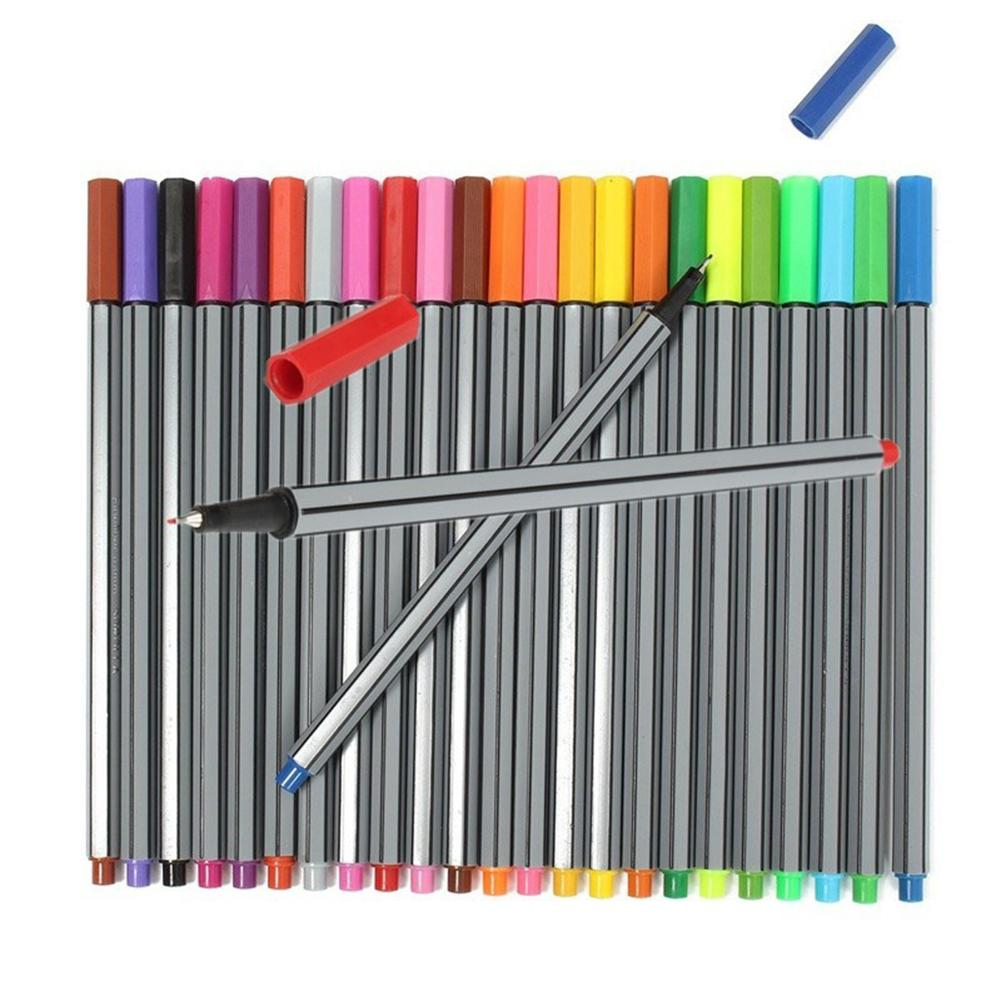 24 Pcs/Set 0.4 Mm 24 Colors Marker Pens Kid Ink Arts Painting Pencils Stationery