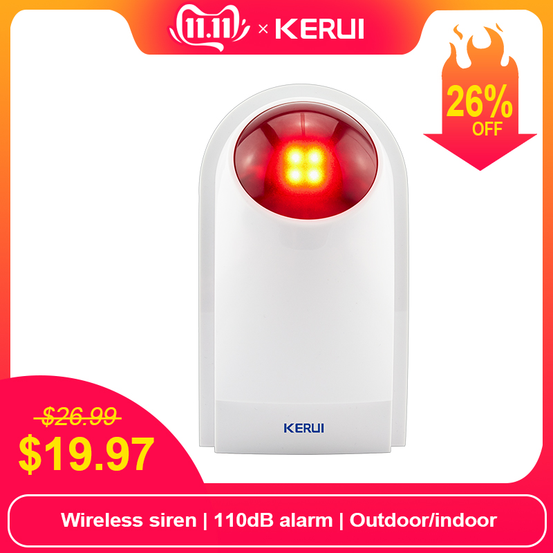 KERUI J008 110dB Indoor Outdoor  Wireless Flashing Siren Strobe Light Siren For KERUI Home Alarm Security System