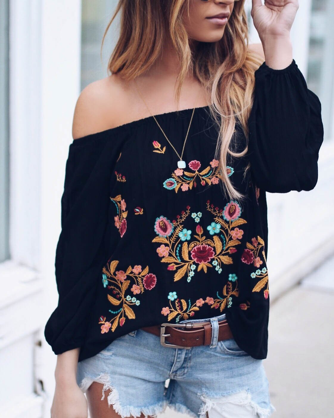 women blouse fashion 2020  female womens top shirt embroidery casual lantern sleeve elegant  popular ladies clothing top 90s
