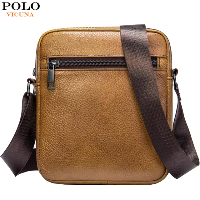 VICUNA POLO bolso de hombro de piel auténtica para hombre, Estilo Vintage bandolera, informal, promocional