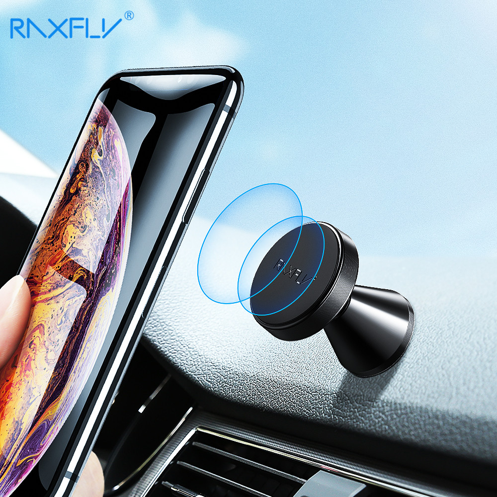 RAXFLY Magnetic Phone Car Holder With Free Send 2PCS Metal Plate Magnet Car Mobile Phone Stand Suporte Soporte Celular Para Auto
