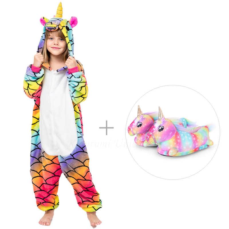 Unicórnio kigurumi onesie crianças pijamas para crianças animal ponto do tigre panda dos desenhos animados cobertor sleepers bebê traje de inverno meninos