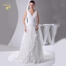 High Quality New Fashion Wedding Dresses 2020 V Neck Chiffon Wrinkle Chapel Train Zipper Robe De