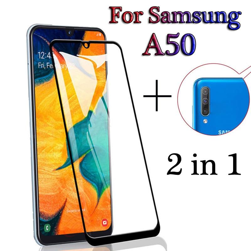 2-en-1 couverture complète avant verre arrière caméra Film pour Samsung Galaxy A50 A505F protecteur décran pour Galaxy A50 A 50 Film de protection