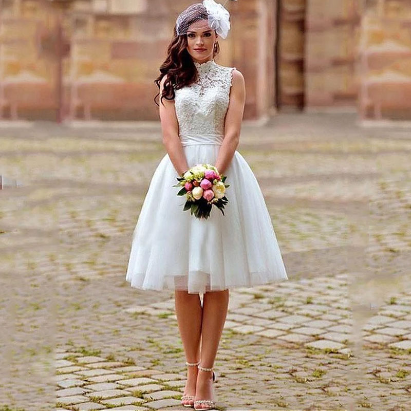 Knee Length Wedding Dress 2019 A Line White High Neck Appliqued Lace Bride Dresses Boho Backless Short Wedding Gowns Trouwjurken