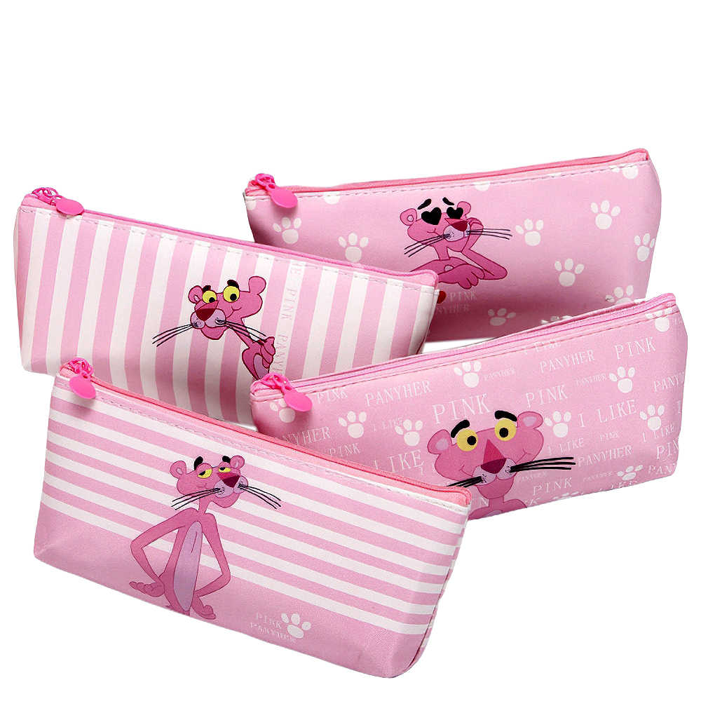 Kawaii Pencil Case Cartoon Cute Pink Panther Pattern Pen Bag Pen Pouch School Office Stationery Supplies Gift for Student