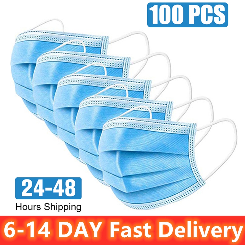 100pcs Face Mask Disposable Anti Virus Face Masks 3-ply Safely Mask 50pcs Pm2.5 Apply To Dust Adult Filter Masque Mouth PK N95