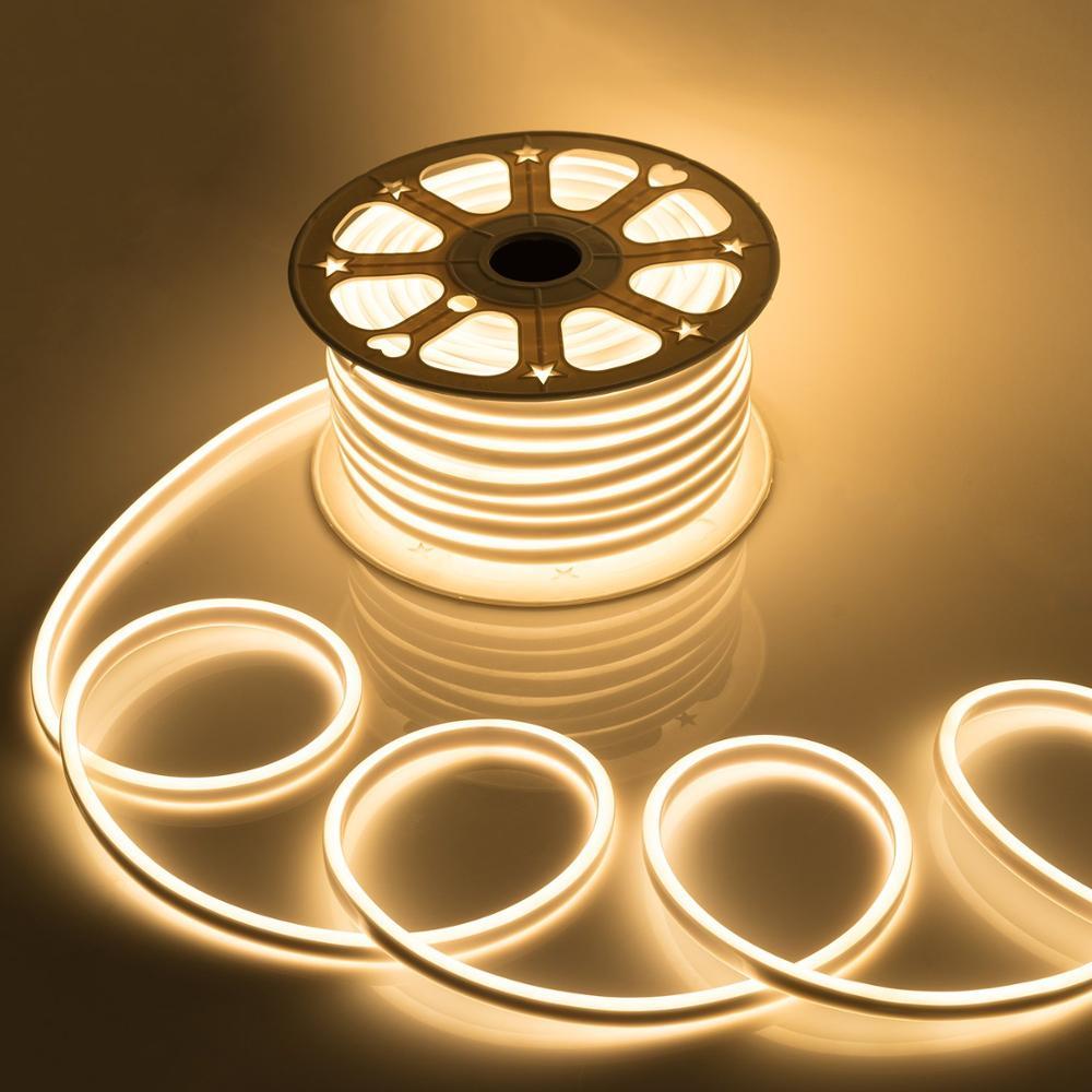 Bande lumineuse à la néon colorée, 220V 1-20M bande d'éclairage à la néon Flexible et souple ruban imperméable, ruban sous-vêtement de noël blanc/rose/rouge/bleu/vert/RGB