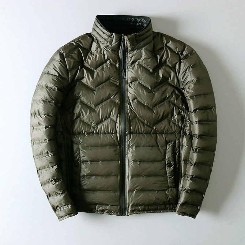 Ultra leve para baixo jaqueta masculina de dupla face wear fino outono winte jaquetas para homem casaco de puffer para homem kj791