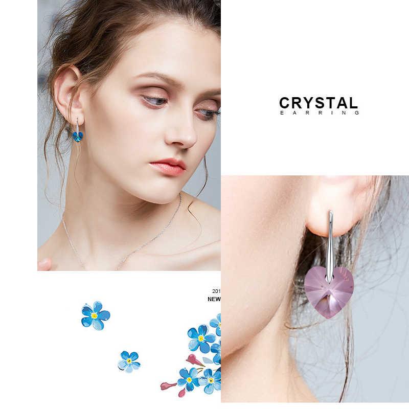 Baffin Drop Anting-Anting Menggantung Hati Kristal dari Swarovski untuk Wanita Pesta Hot Jual Warna Perak Telinga Perhiasan Teman Hadiah
