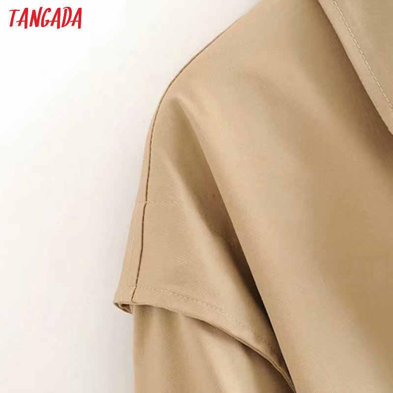 Tangada kadınlar zarif uzun trençkot kemer cep vintage ofis bayan iş elbisesi rüzgarlık 6P13