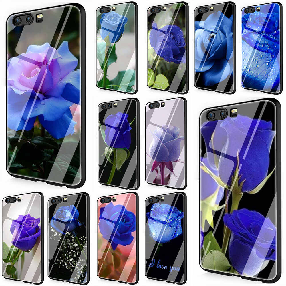 Blue Rose Tempered Glass Phone Cover Case for Huawei Y6 Y9 Honor 8X 10 7A P10 20 Mate20 Lite Pro