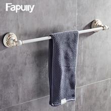 Fapully Bathroom Towel Holder Wall Mount White Rack Toalheiro Single Bar Accessories
