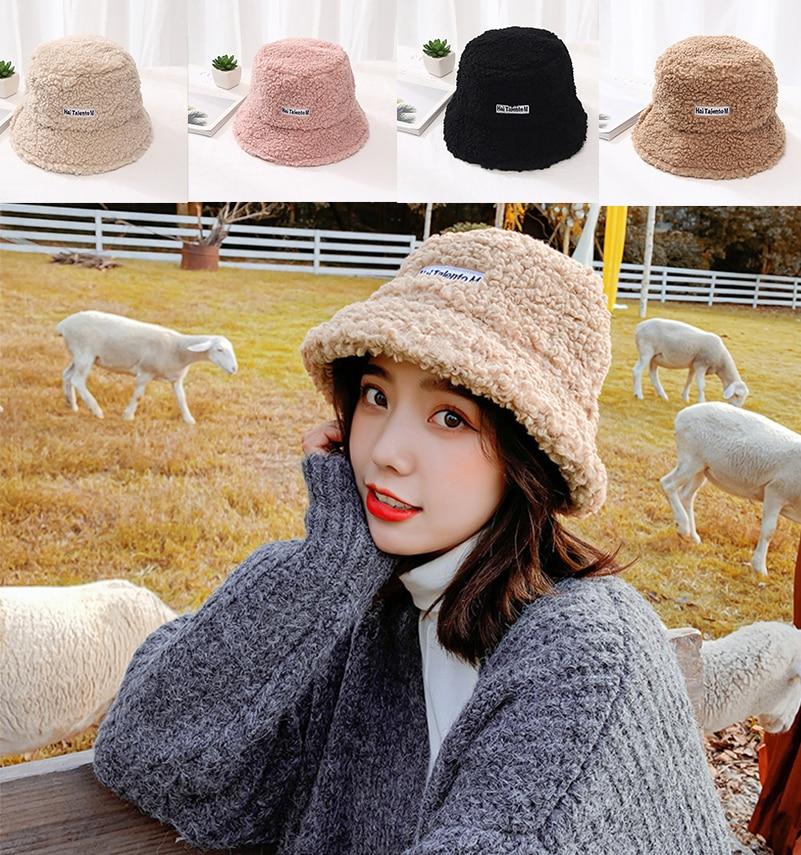 New Plush Harajuku Bucket Hat Men Women Outdoor Beach Sun Hat Black Pink Fashion Fishing Fisherman Hat